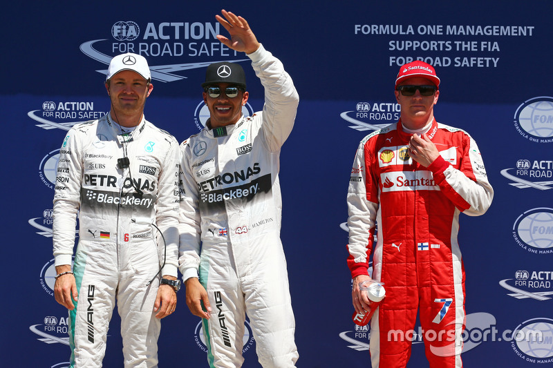 Qualifying top three in parc ferme, Nico Rosberg, Mercedes F1, pole sitter Lewis Hamilton, Mercedes