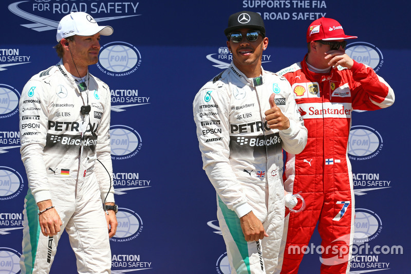 Qualifying top three in parc ferme, Nico Rosberg, Mercedes F1, pole sitter Lewis Hamilton, Mercedes
