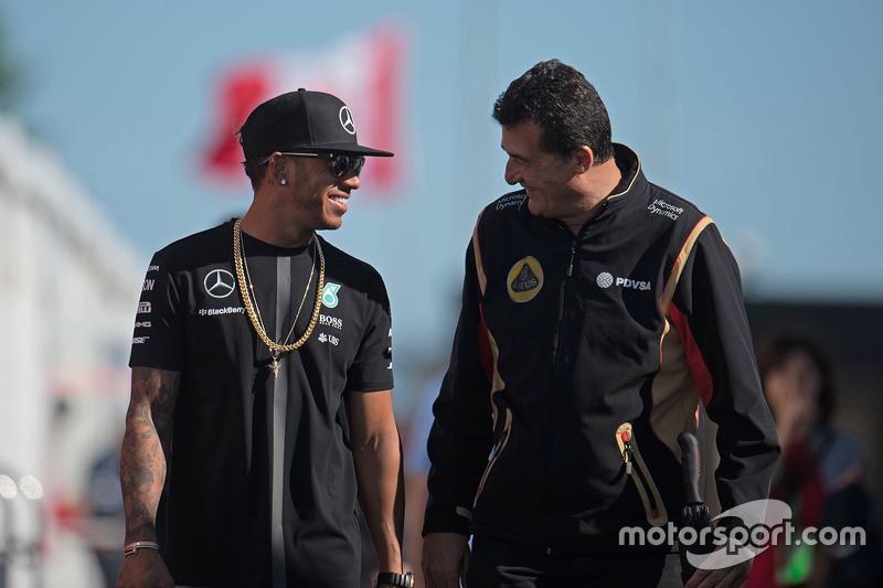 Lewis Hamilton, Mercedes AMG F1 with Federico Gastaldi, Lotus F1 Team Deputy Team Principal