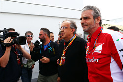 Sergio Marchionne, Ferrari President and CEO of Fiat Chrysler Automobiles with Maurizio Arrivabene, Ferrari Team Principal