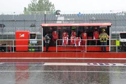 Rain falls on the Ferrari pit gantry