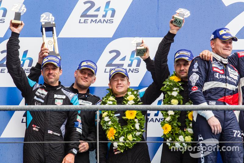 LMGT-Am-Podium: 2. #77 Dempsey Proton Competition, Porsche 911 RSR: Patrick Dempsey, Patrick Long, M