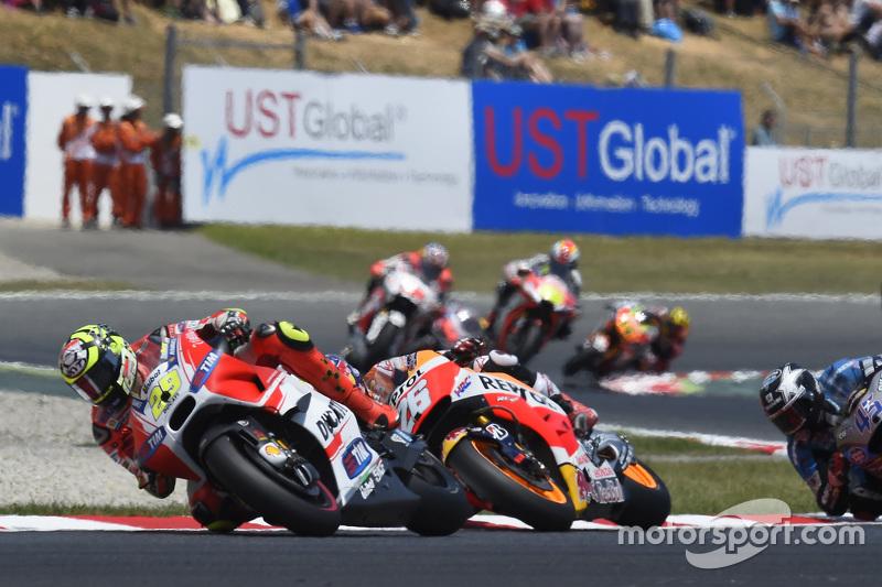 Andrea Iannone, Ducati Team; Dani Pedrosa, Repsol Honda Team, und Scott Redding, Marc VDS Racing Hon