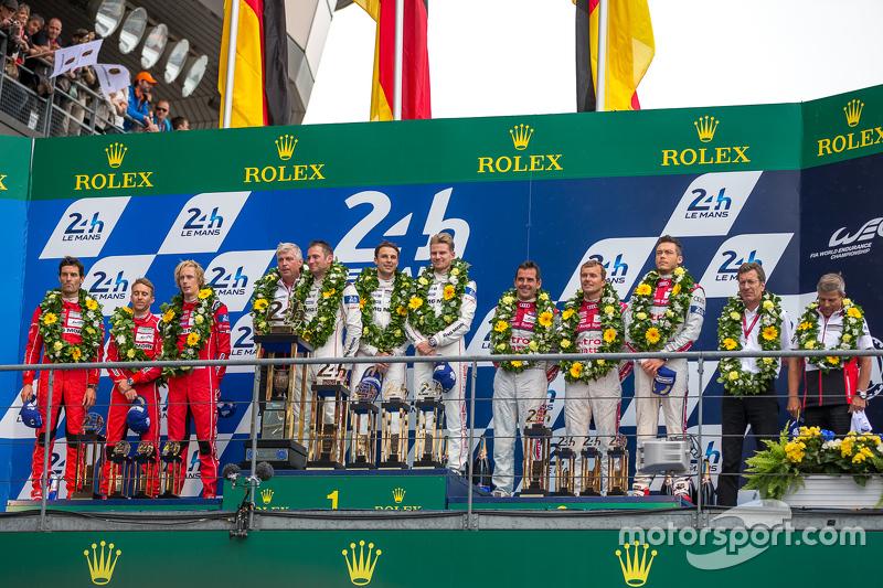 LMP1 podium: class, dan overallJuara balapanPorsche Team: Nico Hulkenberg, Nick Tandy, Earl Bamber, peringkat kedua Porsche Team: Timo Bernhard, Mark Webber, Brendon Hartley, third place Audi Sport Team Joest Audi R18 e-tron quattro: Marcel Fässler, Andre