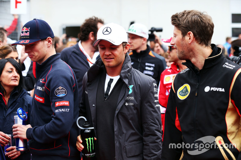 Max Verstappen, Scuderia Toro Rosso with Nico Rosberg, Mercedes AMG F1 and Romain Grosjean, Lotus F1 Team on the drivers parade