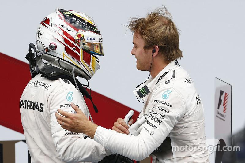 1. Nico Rosberg, Mercedes AMG F1 Team, und 2. Lewis Hamilton, Mercedes AMG F1 Team
