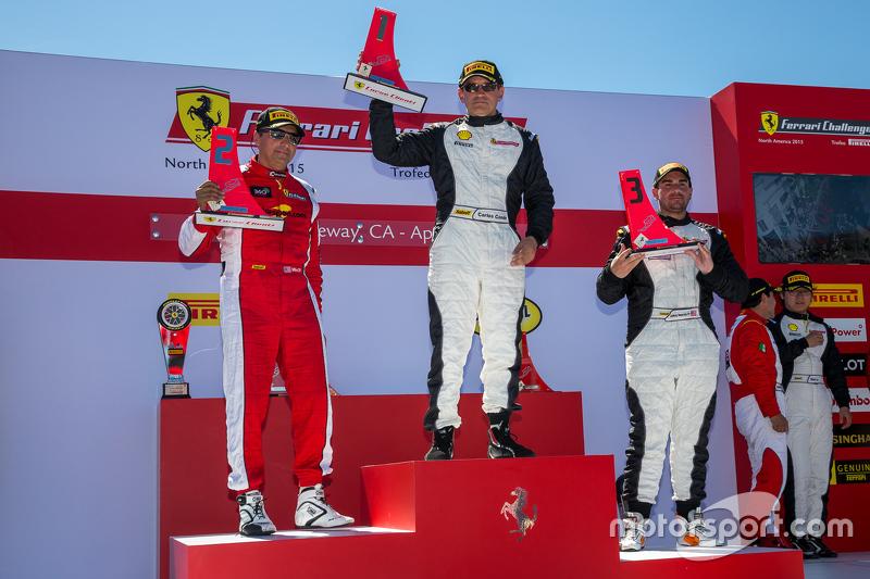 Podium: 1. #23 Miller Motorcars, Ferrari 458: Carlos Conde, 2. #91 Ferrari of Long Island, Ferrari 458: Anthony Imperato, und 3. #8 Ferrari of Fort Lauderdale, Ferrari 458