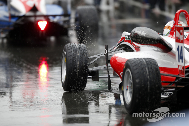 Hankook rain tire, wet conditions, 14 Matthew Rao, Fortec Motorsports Dallara Mercedes-Benz
