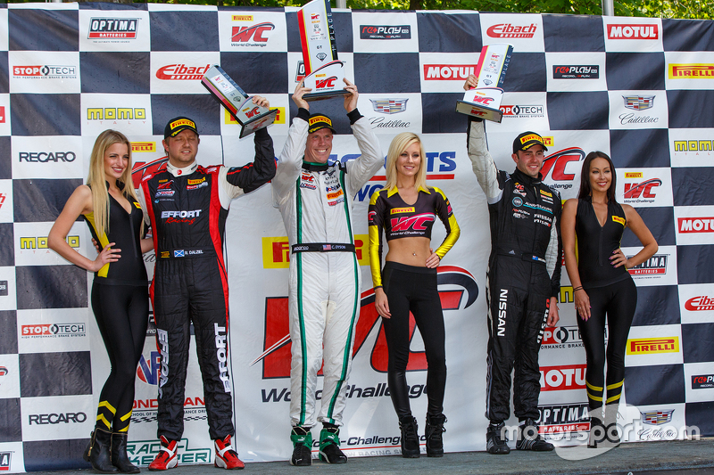 GT podium: Race winner Chris Dyson, second place James Davison and third place Ryan Dalziel