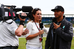 Lewis Hamilton, Mercedes AMG F1 with Natalie Pinkham, Sky Sports Presenter