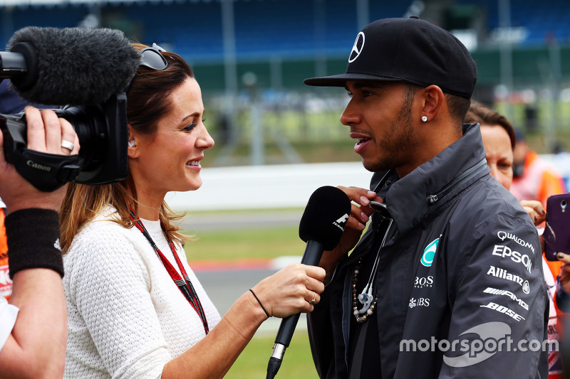 Lewis Hamilton, Mercedes AMG F1 with Natalie Pinkham, Sky Sports Presenter on the drivers parade