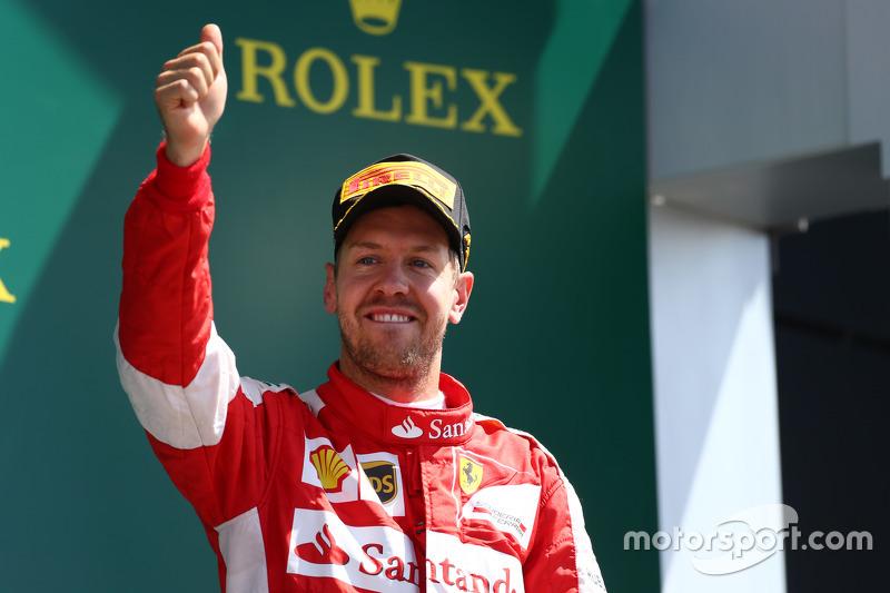 Posisi ke-3  Sebastian Vettel, Ferrari.