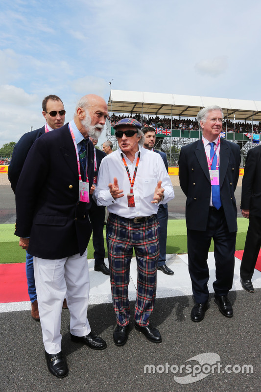 HRH Prince Michael of Kent, with Jackie Stewart, and Michael Fallon MP, Defence Secretary on the g