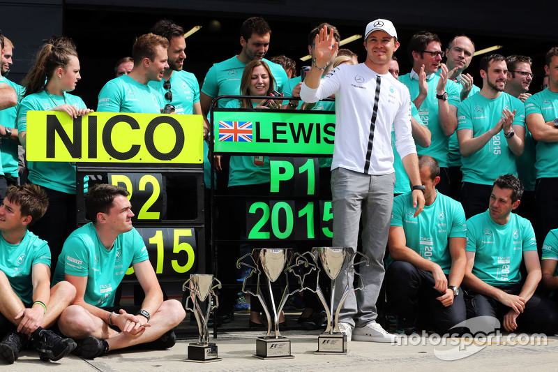 Nico Rosberg, Mercedes AMG F1 celebrates second position with the team