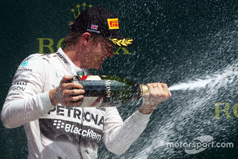 Nico Rosberg, Mercedes AMG F1 celebrates his second position on the podium