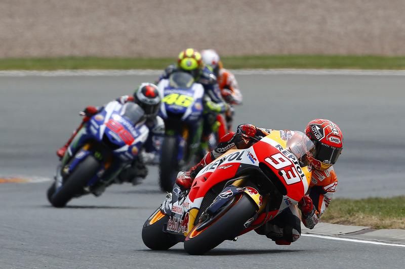Marc Marquez, Repsol Honda Team, dan Jorge Lorenzo, dan Valentino Rossi, Yamaha Factory Racing, dan Dani Pedrosa, Repsol Honda Team