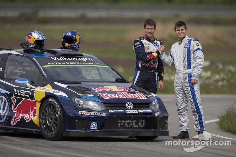 Sèbastien Ogier , dan Chess champion Magnus Carlsen test the VW Polo R