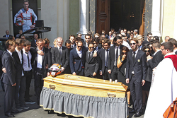 Friends, family and drivers attend the funeral of Jules Bianchi in Nice, France