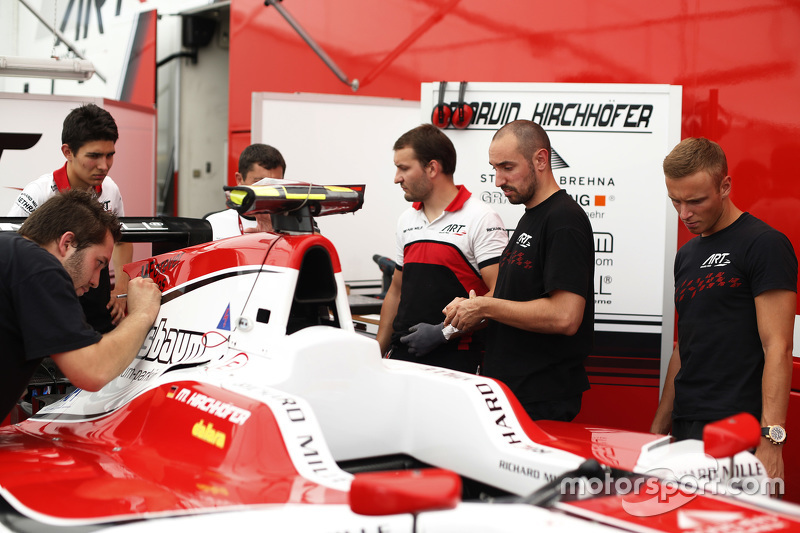 Marvin Kirchhofer, dan Esteban Ocon watch a'#Forever Jules' sticker