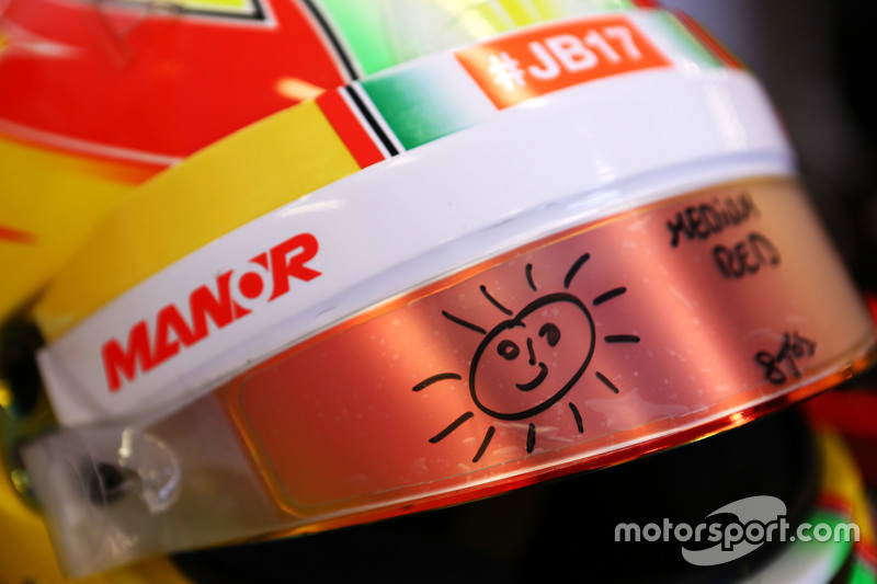 The helmet of Roberto Merhi, Manor F1 Team