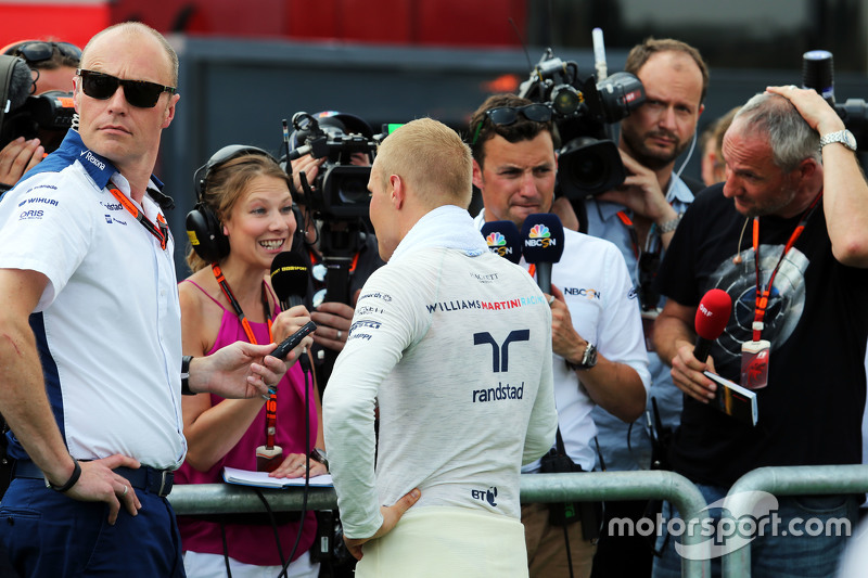 Valtteri Bottas, Williams with Jennie Gow, BBC Radio 5 Live Pitlane Reporter