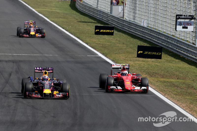 Daniel Ricciardo, Red Bull Racing dan Kimi Raikkonen, Scuderia Ferrari