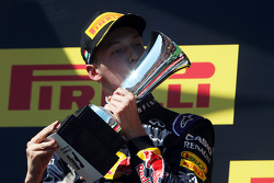 Daniil Kvyat, Red Bull Racing celebrates his second position on the podium