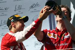 Race winner Sebastian Vettel, Ferrari celebrates on the podium with James Allison, Ferrari Chassis Technical Director