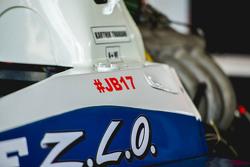 Pegatina de Jules Bianchi en el coche