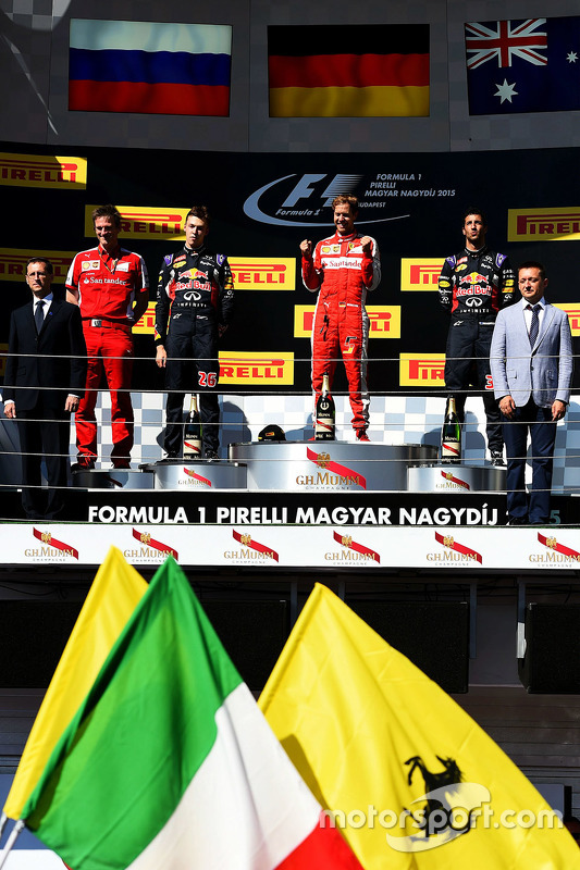 Podium: winner Sebastian Vettel, Ferrari, second place Daniil Kvyat, Red Bull Racing, third place Da