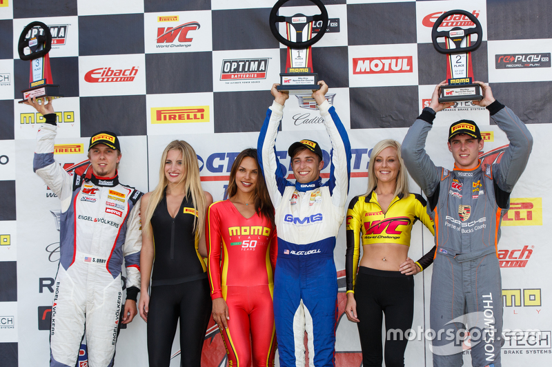 GT Cup Podium: Race winner Alec Udell, second place Colin Thompson  and third place Sloan Urry