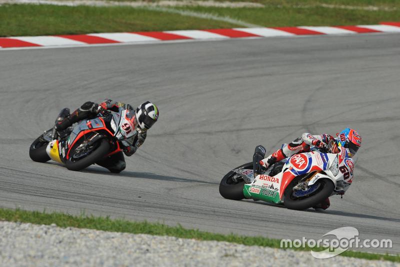 Michael van der Mark, Pata Honda; Leon Haslam, Aprilia Racing Team