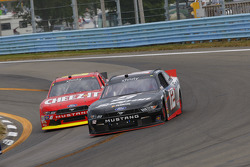 Joey Logano, Team Penske Ford and Darrell Wallace Jr., Roush Fenway Racing Ford