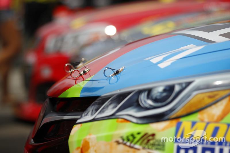 Hood pin detail on the Joe Gibbs Racing Toyota of Kyle Busch