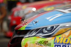 Hood pin detail on the Joe Gibbs Racing Toyota of Kyle Busch