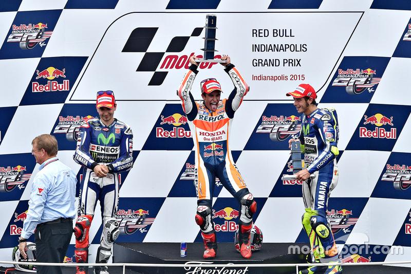 Podium: race winner Marc Marquez, Repsol Honda Team, second place Jorge Lorenzo, Yamaha Factory Raci