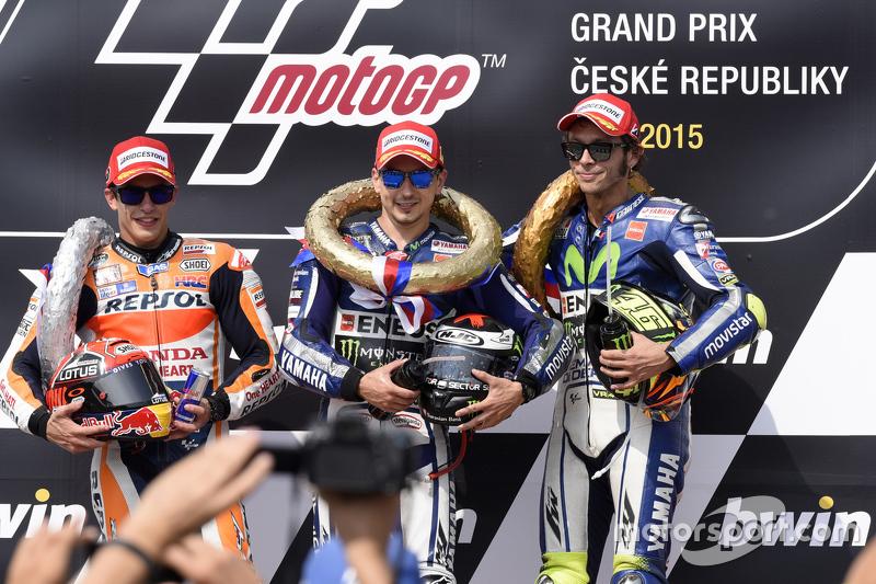 Peraih podium: Jorge Lorenzo, Marc Marquez dan Valentino Rossi