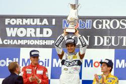 Podium: race winner Nelson Piquet, Williams, second place Stefan Johansson, Ferrari, third place Ayr