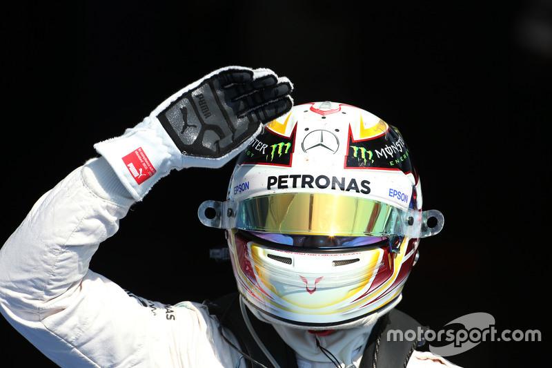 Lewis Hamilton, Mercedes AMG F1 celebrates his pole position in parc ferme