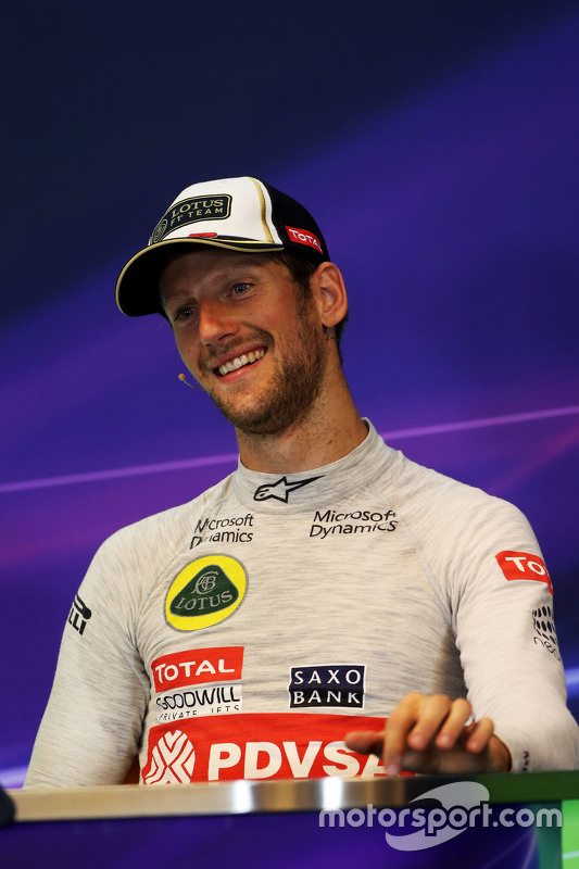 Romain Grosjean, Lotus F1 Team in de persconferentie