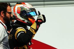 Romain Grosjean, Lotus F1 Team fête sa troisième place dans le Parc Fermé
