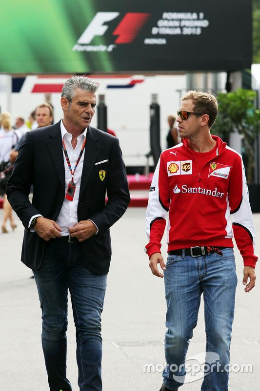 Maurizio Arrivabene, Ferrari Takım Patronu ile Sebastian Vettel, Ferrari