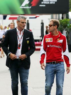 Maurizio Arrivabene, Ferrari Team Principal with Sebastian Vettel, Ferrari