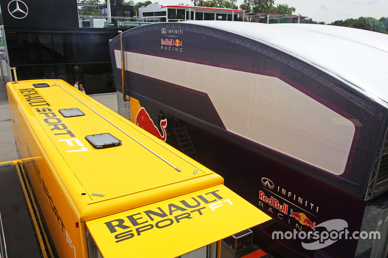Renault Sport F1 and Red Bull Racing trucks in the paddock