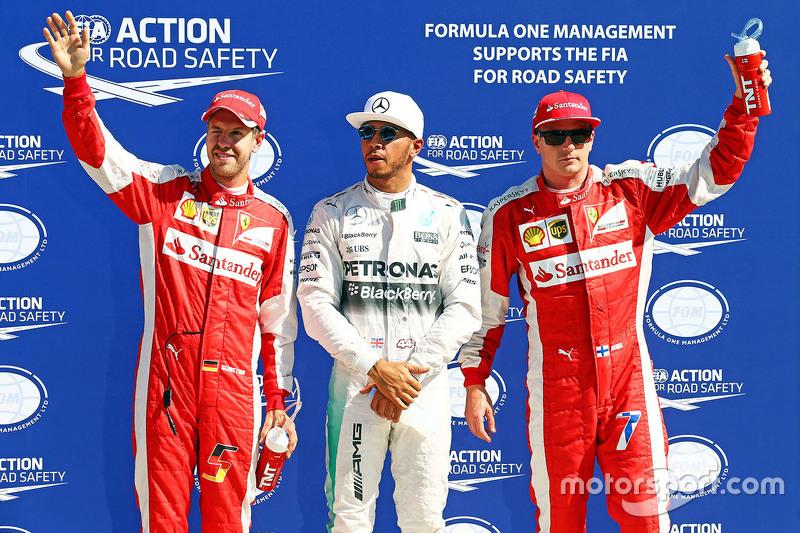 Pole Lewis Hamilton, Mercedes AMG F1 Team, segundo Kimi Raikkonen, Ferrari, terceiro Sebastian Vette