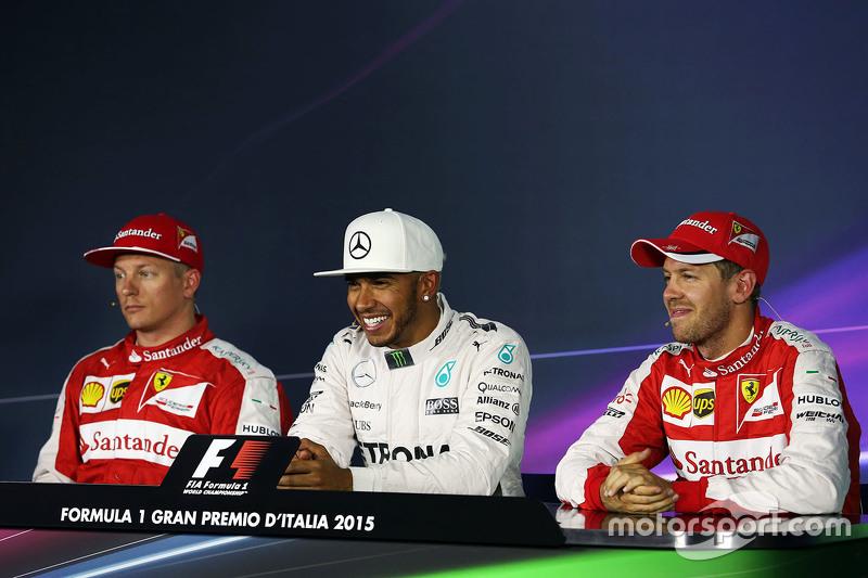Lewis Hamilton, Mercedes AMG F1 Team with Kimi Raikkonen, Ferrari and Sebastian Vettel, Ferrari