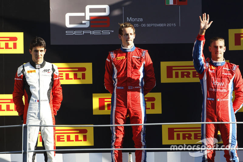 Race 1 Podium: second place Esteban Ocon, ART Grand Prix and winner Emil Bernstorff and third place Kevin Ceccon, Arden International