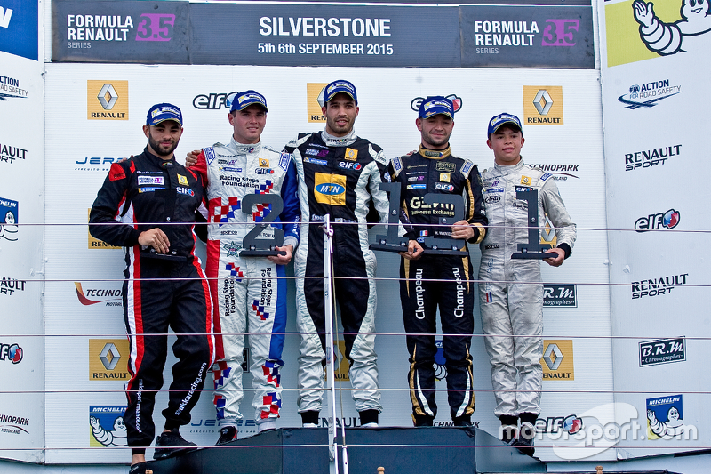 Podium: winner Tio Ellinas, second place Oliver Rowland, third place Matthieu Vaxiviere