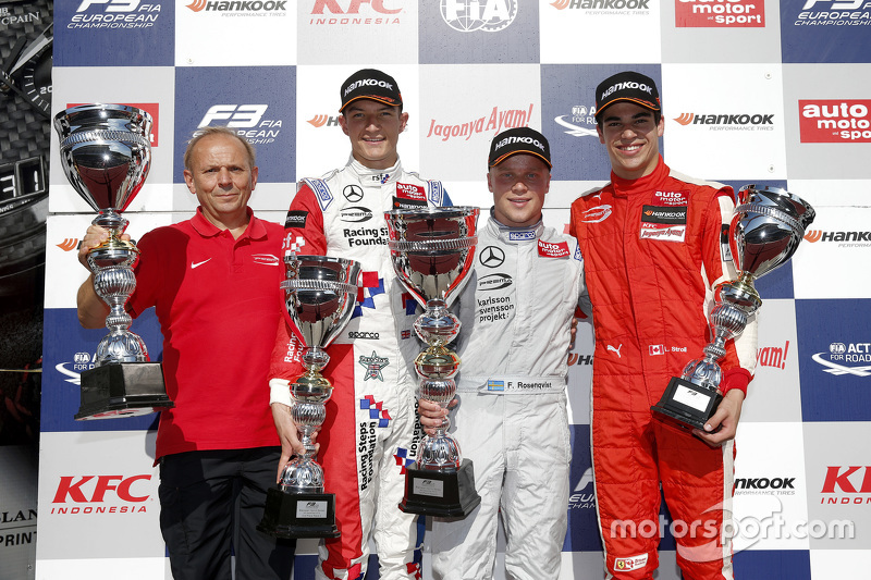 Podium, 2. Rennen: 2. Jake Dennis; 1. Felix Rosenqvist; 3. Lance Stroll, Prema Powerteam
