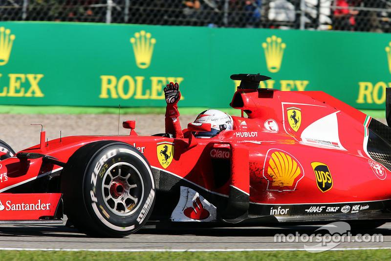 Sebastian Vettel, Ferrari, feiert Platz zwei